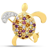 1.37 Carat Genuine Multi Stones .925 Sterling Silver Brooch