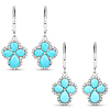 3.93 Carat Genuine Turquoise and White Zircon .925 Sterling Silver Earrings