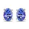 1.24 Carat Genuine Tanzanite 14K White Gold Earrings