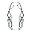 0.38 Carat Genuine Blue Diamond & White Diamond .925 Sterling Silver Earrings