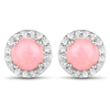 1.36 Carat Genuine Pink Opal and White Topaz .925 Sterling Silver Earrings