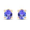 0.70 Carat Genuine Tanzanite 14K Yellow Gold Earrings
