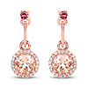 1.03 Carat Genuine Morganite, Pink Tourmaline and White Diamond 14K Rose Gold Earrings
