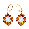 """""""14K Yellow Gold Plated 5.42 Carat Genuine Ethiopian Opal, Citrine and White Topaz .925 Sterling Silver Earrings"""""""
