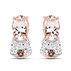 """18K Rose Gold Plated 0.95 Carat Genuine Morganite, Smoky Quartz and White Zircon .925 Sterling Silver Earrings"""