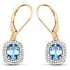 2.36 Carat Genuine Blue Sapphire and White Diamond 14K Yellow Gold Earrings