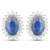 1.22 Carat Genuine Blue Sapphire and White Diamond 14K White Gold Earrings