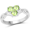 0.73 Carat Genuine Peridot and White Diamond .925 Sterling Silver Ring