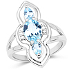 2.15 Carat Genuine Blue Topaz and White Diamond .925 Sterling Silver Ring