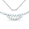 6.51 Carat Genuine Blue Topaz and White Topaz .925 Sterling Silver Necklace
