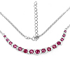 5.09 Carat Genuine Ruby and White Diamond .925 Sterling Silver Necklace