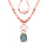 14K Rose Gold Plated 92.39 Carat Genuine Milky Aquamarine & Pink Opal .925 Sterling Silver Necklace