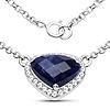 3.18 Carat Genuine Blue Aventurine and White Topaz .925 Sterling Silver Necklace