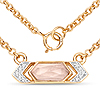 14K Yellow Gold Plated 0.85 Carat Genuine Rose Quartz and White Topaz .925 Sterling Silver Necklace