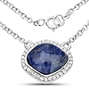 3.67 Carat Genuine Blue Aventurine and White Topaz .925 Sterling Silver Necklace