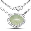 4.51 Carat Genuine Prehnite and White Topaz .925 Sterling Silver Necklace