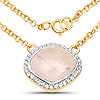 18K Yellow Gold Plated 4.48 Carat Genuine Rose Quartz and White Topaz .925 Sterling Silver Necklace