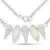 2.14 Carat Genuine Prehnite and White Topaz .925 Sterling Silver Necklace