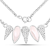 4.34 Carat Genuine Rose Quartz and White Topaz .925 Sterling Silver Necklace