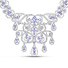 22.19 Carat Genuine Tanzanite and White Diamond .925 Sterling Silver Necklace