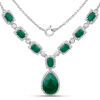 12.02 Carat Dyed Emerald and White Topaz .925 Sterling Silver Necklace
