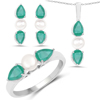"""""""6.80 Carat Genuine Emerald and Pearl .925 Sterling Silver Ring, Pendant & Earrings Set"""""""