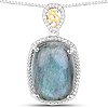 11.05 Carat Genuine Labradorite and White Diamond 14K Yellow Gold with .925 Sterling Silver Pendant