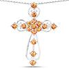1.92 Carat Genuine Orange Sapphire .925 Sterling Silver Pendant