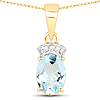 1.07 Carat Genuine Aquamarine and White Diamond 14K Yellow Gold Pendant