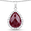 18.46 Carat Dyed Ruby and White Topaz .925 Sterling Silver Pendant