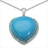 37.60 Carat Genuine Turquoise & Blue Topaz .925 Sterling Silver Pendant