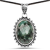 30.15 Carat Genuine Emerald .925 Sterling Silver Pendant