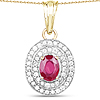 14K Yellow Gold Plated 2.52 Carat Glass Filled Ruby and White Topaz .925 Sterling Silver Pendant