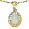 14K Yellow Gold Plated 1.29 Carat Genuine Opal & White Topaz .925 Sterling Silver Pendant