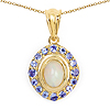 14K Yellow Gold Plated 1.53 Carat Genuine Ethiopian Opal & Tanzanite .925 Sterling Silver Pendant
