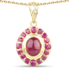 2.80 Carat Glass Filled Ruby and Ruby 14K Yellow Gold Pendant