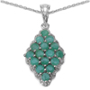 1.67 Carat Genuine Emerald & White Topaz .925 Streling Silver Pendant