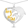 Two Tone Plated 0.14 Carat Genuine White Diamond .925 Sterling Silver Pendant