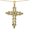 14K Yellow Gold Plated 2.53 Carat Genuine Chrome Diopside & Peridot .925 Sterling Silver Pendant