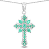 1.26 Carat Genuine Emerald .925 Sterling Silver Pendant
