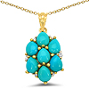 14K Yellow Gold Plated 2.51 Carat Genuine Turquoise & White Topaz .925 Sterling Silver Pendant