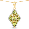 14K Yellow Gold Plated 4.02 Carat Genuine Peridot & White Topaz .925 Sterling Silver Pendant