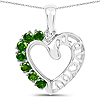 14K White Gold Plated 0.84 Carat Genuine Chrome Diopside .925 Sterling Silver Pendant