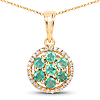 0.58 Carat Genuine Zambian Emerald and White Diamond 14K Yellow Gold Pendant