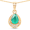 0.90 Carat Genuine Zambian Emerald and White Diamond 14K Yellow Gold Pendant
