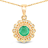 0.46 Carat Genuine Zambian Emerald and White Diamond 14K Yellow Gold Pendant