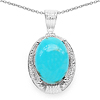 9.96 Carat Genuine Turquoise & White Topaz .925 Sterling Silver Pendant