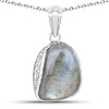 4.89 Carat Genuine Labradorite And White Topaz .925 Sterling Silver Pendant
