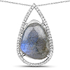 5.38 Carat Genuine Labradorite And White Topaz .925 Sterling Silver Pendant