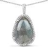 8.65 Carat Genuine Labradorite And White Topaz .925 Sterling Silver Pendant